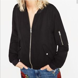 Zara Bomber Jacket w/ Silver Zippers